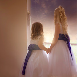 The future is a sunrise away by Laura Prieto - Babies & Children Children Candids ( love, girls, sisters, sky, future, children, sunrise )