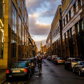 Rush Hour by Akashneel Banerjee - City,  Street & Park  Street Scenes ( clouds, cycle, rush, morning, city )