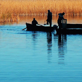 Fishermen by Adriana Popescu - People Professional People ( danube delta, boats, lake, fisherman, fishing boat )