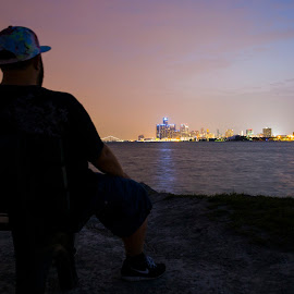 Sunset Point after sunset by Nick Oliver - City,  Street & Park  Skylines ( selfportrait, motown, skyline, belle isle, detroit )