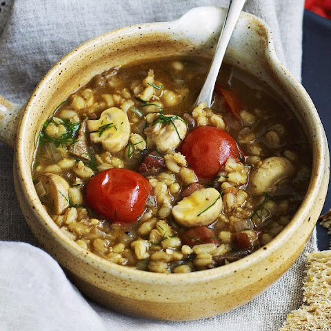 Porcini, Pancetta and Barley Soup with Dill