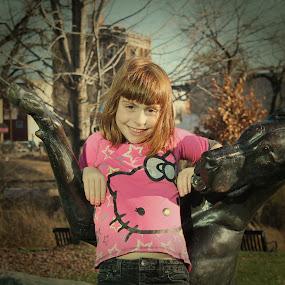 Girl with her dog by Amanda Saxton-Jenson - Babies & Children Child Portraits (  )