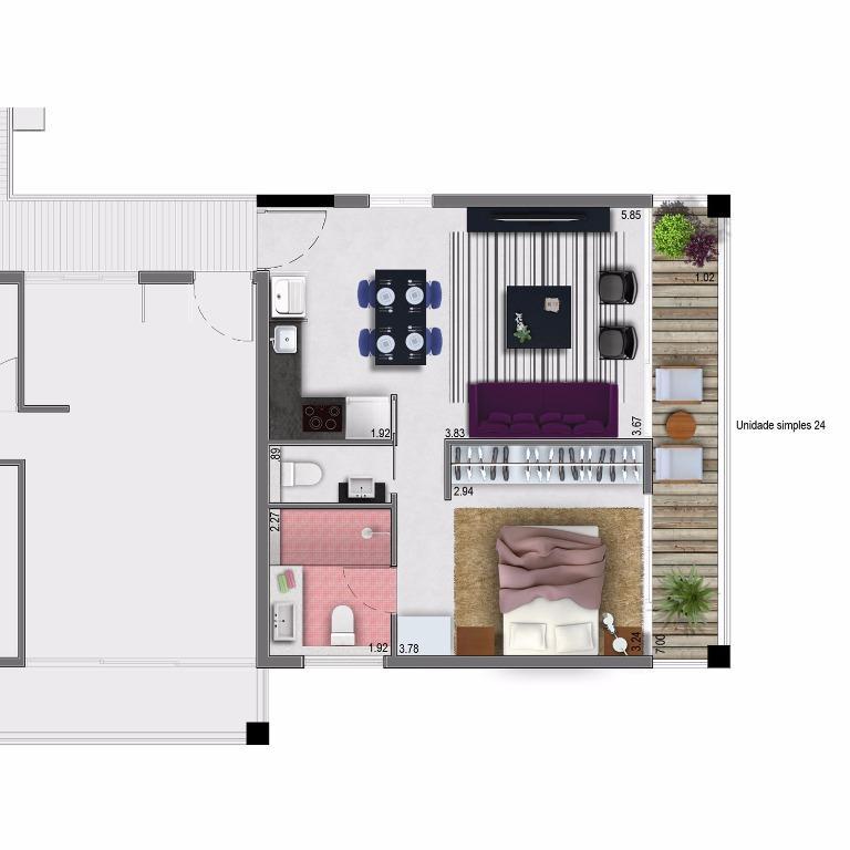 Planta Apto 24 - 54 m²