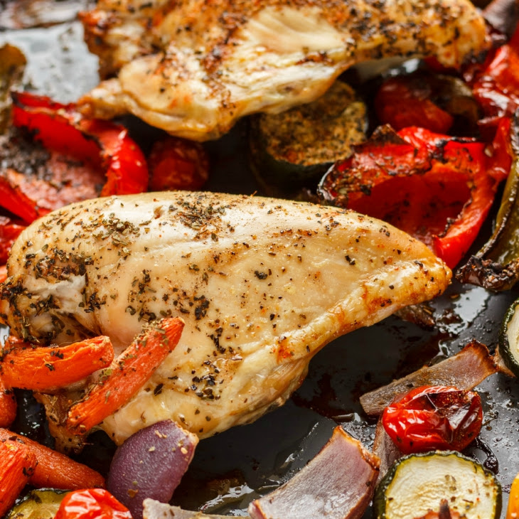 Roasted Bone-In Chicken Breasts with Vegetables Recipe | Yummly