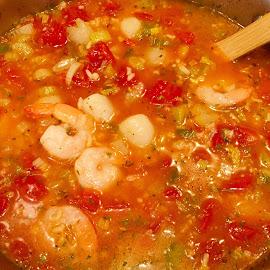 Seafood Jambalaya  by Debbie Squier-Bernst - Food & Drink Cooking & Baking ( scallops, seafood jambalaya, shrimp )