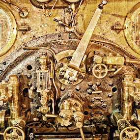 Controls by Josh Hilton - Transportation Trains ( levers, controls, train, gold, knobs )