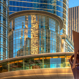 City Shapes by Tom Weisbrook - Buildings & Architecture Other Exteriors ( abstract, sculpture, pedestrian, texas, houston, reflections, smith street, chevron tower, skyway, elevated walkway, downtown )