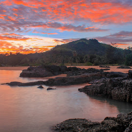 Untitled by Muhammad Ghifan  Arselan - Landscapes Beaches ( clouds, sky, sunrise, burning, rocks )
