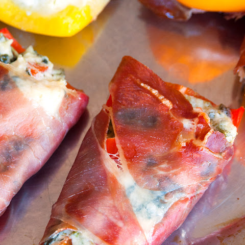 Spinach Artichoke Stuffed Peppers Wrapped in Prosciutto