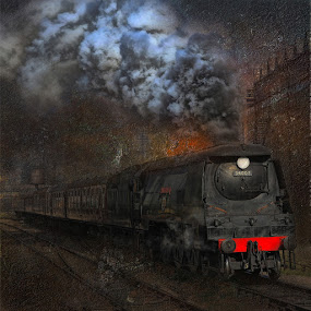 A Hard Day's Night by Martin Crush - Transportation Trains ( locomotives, crush studio.steam, coal, steam trains, smoke )