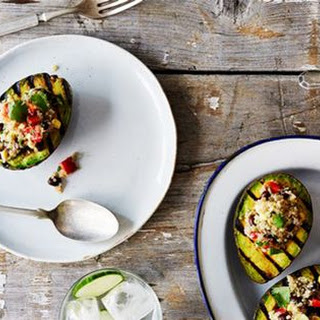 Grilled Avocado Halves With Cumin-Spiced Quinoa & Black Bean Salad