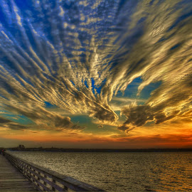 Day Complete by Mark Ayers-Stebenne - Landscapes Sunsets & Sunrises ( fishing pier, el jobean, cloud formations, waterscape, colorful, sunset, florida )