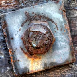 Rustic Nut by Ernie Kasper - Abstract Macro ( bolt, metal, nut, welded, rust, weathered )