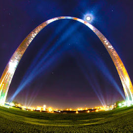 St. Louis Gateway Arch at Night by Jeromy Hogue - Buildings & Architecture Statues & Monuments ( moon, gateway to the west, arch, stars, saint louis, gateway arch, night, st. louis, stl )