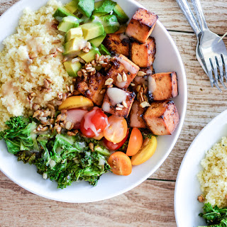 Kale and Couscous Tofu Bowls with Orange Tahini Dressing