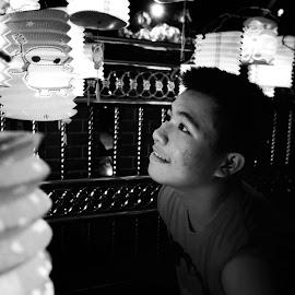Mono Lanterns by Nick Ericson - Novices Only Portraits & People ( lantern, novice, black and white, amateur, festival, portrait, beginner )