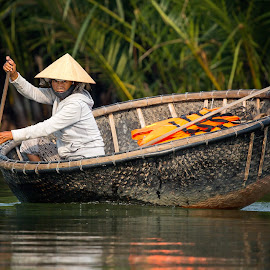 Hoi An Woman by Rebecca Ramaley - People Street & Candids ( paddling, woman, coconut farm, vietnam, traditional, boat )