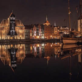 Old City in Gdansk by Piotr Buczek - City,  Street & Park  Night ( port, gdansk, yacht, night, poland )