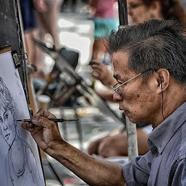 Concentrated On His Work by Marco Bertamé - City,  Street & Park  Street Scenes ( rambla, painting, barcelona, portrait,  )