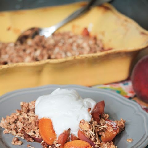 Warm Peach Crisp with Maple Coconut Whip