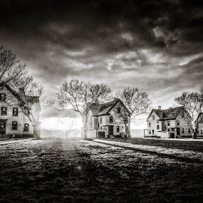 Sleeping Row by Jim Abels - Landscapes Sunsets & Sunrises ( sandy hook, fort hancock, officer's row, jersey shore, new jersey )