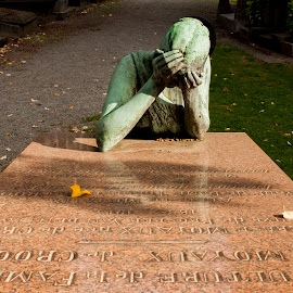 WOMAN MOURNS by Keith Reling - City,  Street & Park  Cemeteries ( laeken cemetery )