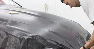 Carbon fiber wrap installation on a Jaguar XF - Ottawa