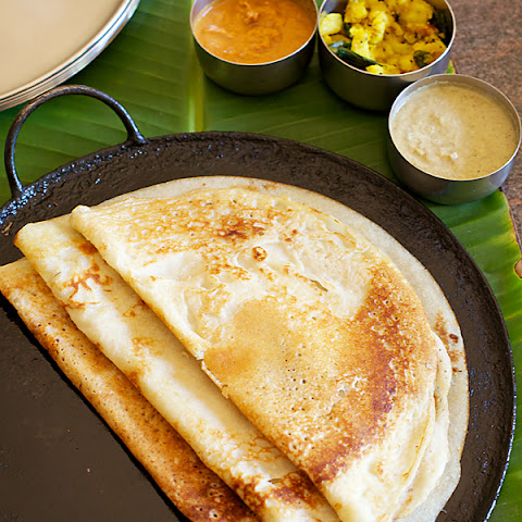 My Mother's Special Dosa With Coconut Sesame Chutney & Spiced Potatoes