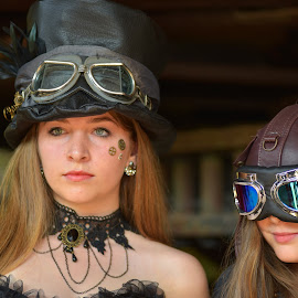 by Marco Bertamé - Babies & Children Child Portraits ( portait, two, girl, blond, goggles, long, hair, steampunk, hat )