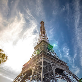 The lady of Paris I Eiffel tower by Dipmalya Chatterjee - Buildings & Architecture Statues & Monuments ( clouds, eiffel tower, paris, stacked, tower, blue sky, eiffel, sunshine )