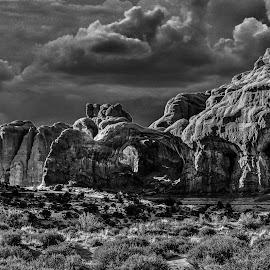 Double Arches by Kevin Esterline - Landscapes Caves & Formations ( clouds, park, utah, arches, storm )