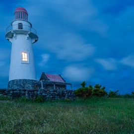 the lighthouse by Sanjoy Sengupta - Landscapes Prairies, Meadows & Fields ( nikon d700, philipines, blue hour, lighthouse, travel, batanes, landscape, nikon mea, nikon, basco,  )