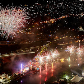 Fireworks over Melbourne by Brett Styles - City,  Street & Park  Night ( night, cityscape, river, fireworks, lights,  )