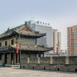 Old and new by Vibeke Friis - Buildings & Architecture Public & Historical ( city wall, xian, china,  )
