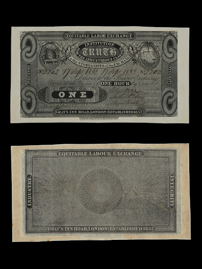This paper money, issued by social reformer Robert Owen, is an example of one of the many ways value has been quantified throughout history. The note, issued in the 1830s from the Equitable Labor Exchange, is measured in the time it took to manufacture goods.