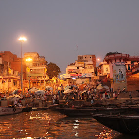 Banaras Ghat by Arun Vishwakarma - Landscapes Travel ( water, color, art, india, photography )
