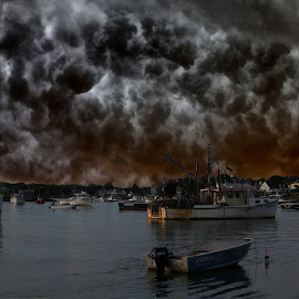 Lobster boats  by Alex  Wolf - Transportation Boats ( water, cool, clouds, alex wolf, cold, maine, wolfproduction.us, boats, reflections, ocean, lobster, storm )