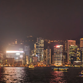 Harbour Lights by Keith Walmsley - Landscapes Waterscapes ( harbour, coast, panorama, reflection, buildings, offices, hong kong, water, landscape, lights, tower )