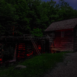 Haunted Mill by Anthony Mara - Abstract Light Painting ( building, light painting, nature, dark, forest, night, historic,  )