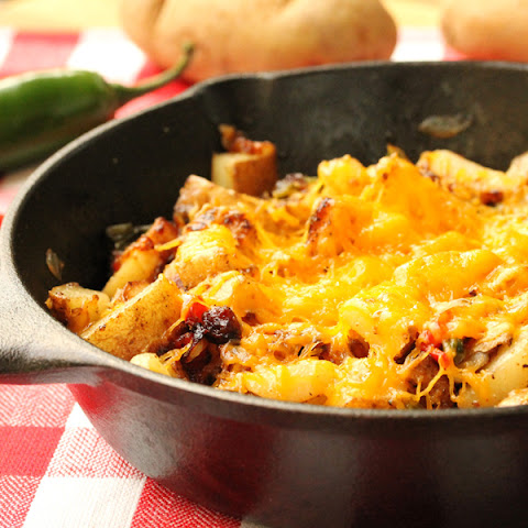 Cheesy Jalapeno and Bacon Skillet Potatoes