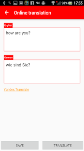 English-German phrase book - screenshot