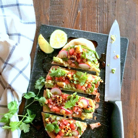 Avocado Pizza with Blackened Corn Salsa and Chipotle Teriyaki Sauce