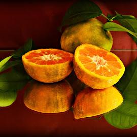 Oranges by Prasanta Das - Food & Drink Fruits & Vegetables ( compsition, oranges, leaf )