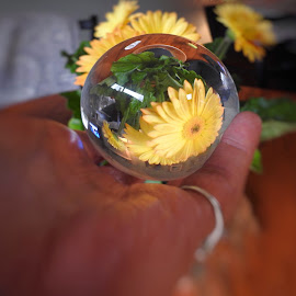 In My Crystal Ball by Patricia Phillips - Artistic Objects Other Objects ( crystal ball golden flowers )