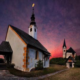 Colorful sundown by Eszes Levente - Buildings & Architecture Public & Historical ( hdr, church, colorful, color, sunset, sundown, cloud, cloudporn, outside )