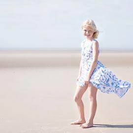 Beach Breeze by Jude Stewart - Babies & Children Child Portraits ( judithstewart, children, light, beach, camber, highkey, child,  )