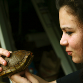 Paige n Raphael by Jamie Hodge - Animals Reptiles ( shell, kiss, saved, orange nose, rescued, turtle, kisses,  )