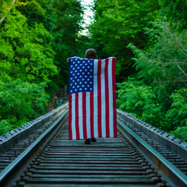 by Aires Spaethe - Public Holidays July 4th ( train tracks, railroad tracks, flag, railroad, american, tracks, aerican flag )
