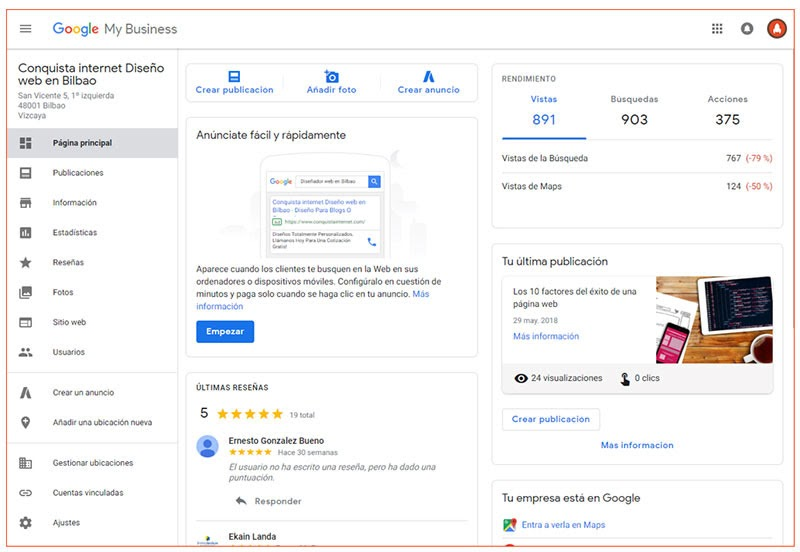Posicionamiento Local Bilbao Google My Business