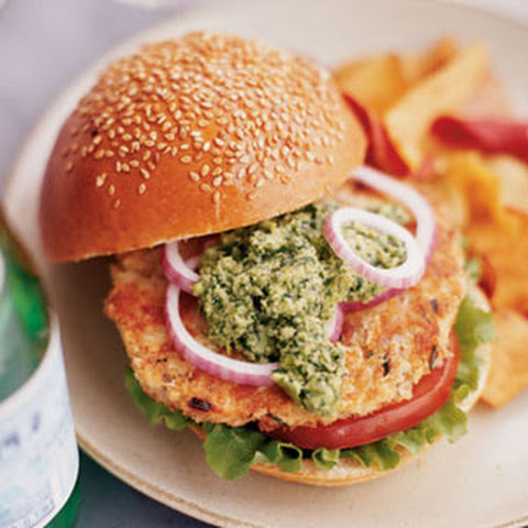 Wasabi Salmon Burgers with Edamame-Cilantro Pesto Recipe | Yummly